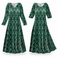 NEW! Customizable Black & Turquoise Ikat Slinky Print Plus Size & Supersize Standard or Cascading A-Line or Princess Cut Dresses & Shirts, Jackets, Pants, Palazzo�s or Skirts Lg to 9x