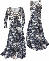 NEW! Customizable Black & White Floral Heirloom Slinky Print Plus Size & Supersize Standard or Cascading A-Line or Princess Cut Dresses & Shirts, Jackets, Pants, Palazzo's or Skirts Lg to 9x