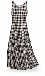 SALE! Black & White Gingham Plus Size & SuperSize Princess Cut Poly/Cotton Jersey Dress 0X 5X