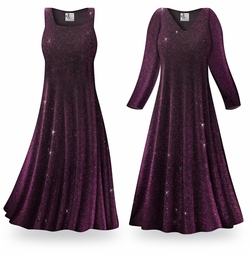 SALE! Customizable Purple Glimmer Slinky Print Plus Size & Supersize Short or Long Sleeve Dresses & Tanks - Sizes Lg to 9x