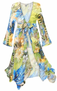 NEW! Customizable Blue Green Tropical Aloha Print Sheer Blouse Swimsuit Coverup Plus Size & Supersize 0x 1x 2x 3x 4x 5x 6x 7x 8x