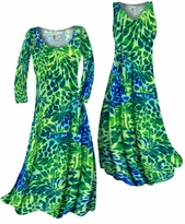 Customizable Blue & Green Tropical Flowers & Spots Print Slinky Plus Size & Supersize Standard or Cascading A-Line or Princess Cut Dresses & Shirts, Jackets, Pants, Palazzo's or Skirts Lg to 9x