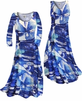 NEW! Customizable Blue Naga Marshes Slinky Print Plus Size & Supersize Standard or Cascading A-Line or Princess Cut Dresses & Shirts, Jackets, Pants, Palazzo's or Skirts Lg to 9x