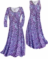 NEW! Customizable Bright Purple & Light Blue Leopard Spots Slinky Print Plus Size & Supersize Standard or Cascading A-Line or Princess Cut Dresses & Shirts, Jackets, Pants, Palazzo's or Skirts Lg to 9x