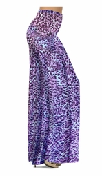NEW! Customizable Bright Purple & Light Blue Leopard Spots Slinky Print Special Order Plus Size & Supersize Pants, Capri's, Palazzos or Skirts! Lg to 9x