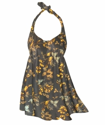 NEW! Customizable Brown With Marigold Flowers & Leaves Print Plus Size Halter SwimDress Swimwear or Shoulder Strap 2pc Swimsuit 0x1x 2x 3x 4x 5x 6x 7x 8x 9x