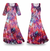 NEW! Customizable Colored Pencil Slinky Print Plus Size & Supersize Standard or Cascading A-Line or Princess Cut Dresses & Shirts, Jackets, Pants, Palazzo�s or Skirts Lg to 9x