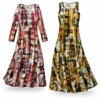 NEW! Customizable Crosshatch Slinky Print Plus Size & Supersize Standard or Cascading A-Line or Princess Cut Dresses & Shirts, Jackets, Pants, Palazzo�s or Skirts Lg to 9x