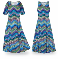 NEW! Customizable Dazzling Chevrons Slinky Print Plus Size & Supersize Standard or Cascading A-Line or Princess Cut Dresses & Shirts, Jackets, Pants, Palazzo�s or Skirts Lg to 9x