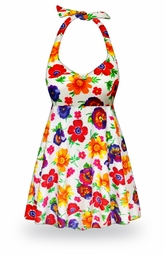 NEW! Customizable Pansy Dance Print Halter or Shoulder Strap 2pc Plus Size Swimsuit/SwimDress 0x to 9x