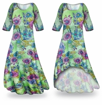 Customizable Flower Illuminations Slinky Print Plus Size & Supersize Standard or Cascading A-Line or Princess Cut Dresses & Shirts, Jackets, Pants, Palazzo�s or Skirts Lg to 9x