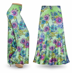 SALE! Customizable Flower Illuminations Slinky Print Special Order Plus Size & Supersize Pants, Capri's, Palazzos or Skirts! Lg to 9x