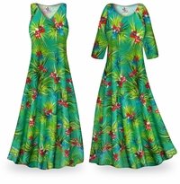 NEW! Customizable Green Orchid Slinky Print Plus Size & Supersize Standard or Cascading A-Line or Princess Cut Dresses & Shirts, Jackets, Pants, Palazzo�s or Skirts Lg to 9x