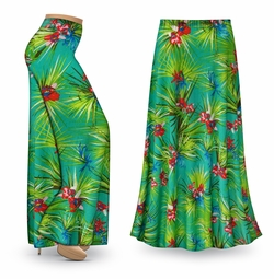 NEW! Customizable Green Orchid Slinky Print Special Order Plus Size & Supersize Pants, Capri's, Palazzos or Skirts! Lg to 9x