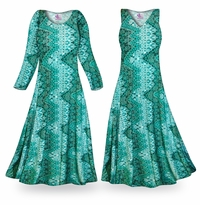 NEW! Customizable Green Tribal Slinky Print Plus Size & Supersize Standard or Cascading A-Line or Princess Cut Dresses & Shirts, Jackets, Pants, Palazzo�s or Skirts Lg to 9x