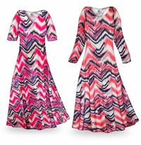 Customizable Groovy Zig Zags Slinky Print Plus Size & Supersize Standard or Cascading A-Line or Princess Cut Dresses & Shirts, Jackets, Pants, Palazzo�s or Skirts Lg to 9x