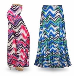 SALE! Customizable Groovy Zig Zags Slinky Print Special Order Plus Size & Supersize Pants, Capri's, Palazzos or Skirts! Lg to 9x