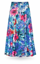 NEW! Customizable Hawaiian Tropic in Blue Colors Slinky Print Special Order Plus Size & Supersize Pants, Capri's, Palazzos or Skirts! Lg to 9x