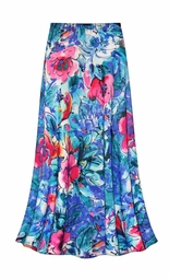 SALE! Customizable Hawaiian Tropic in Blue Slinky Print Plus Size & Supersize Skirts - Sizes Lg to 9x