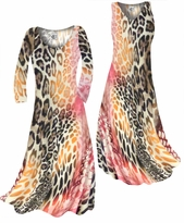 Customizable Hot Pink & Brown Leopard Print Slinky Plus Size & Supersize Standard or Cascading A-Line or Princess Cut Dresses & Shirts, Jackets, Pants, Palazzo's or Skirts Lg to 9x