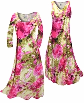 NEW! Customizable Hot Pink & Olive Green Tie Dye Slinky Print Plus Size & Supersize Standard or Cascading A-Line or Princess Cut Dresses & Shirts, Jackets, Pants, Palazzo's or Skirts Lg to 9x