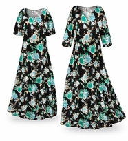 NEW! Customizable Icy Garden Slinky Print Plus Size & Supersize Standard or Cascading A-Line or Princess Cut Dresses & Shirts, Jackets, Pants, Palazzo�s or Skirts Lg to 9x