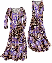 Customizable Indigo Wild Animal Skin Print Slinky Plus Size & Supersize Standard or Cascading A-Line or Princess Cut Dresses & Shirts, Jackets, Pants, Palazzo's or Skirts Lg to 9x