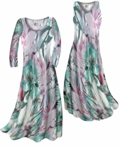 Customizable Lavender Floral Watercolor Print Slinky Plus Size & Supersize Standard or Cascading A-Line or Princess Cut Dresses & Shirts, Jackets, Pants, Palazzo's or Skirts Lg to 9x