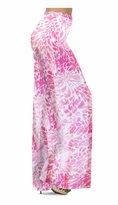 NEW! Customizable Light Pink Tropical Flowers & Spots Slinky Print Special Order Plus Size & Supersize Pants, Capri's, Palazzos or Skirts! Lg to 9x