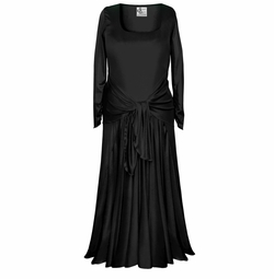 NEW! Customizable Long Sleeve Plus Size & Supersize Black Slinky Evening Gown Dresses Lg XL 1x 2x 3x 4x 5x 6x 7x 8x
