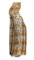 Customizable Tan With Gold Metallic Little Leopard Spots Horizontal Slinky Print Special Order Plus Size & Supersize Pants, Capri's, Palazzos or Skirts! Lg to 9x