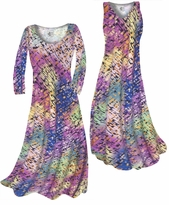Customizable Pastel Rainbow Squares Print Slinky Plus Size & Supersize Standard or Cascading A-Line or Princess Cut Dresses & Shirts, Jackets, Pants, Palazzo's or Skirts Lg to 9x