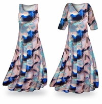 Customizable Natural Dry Brush/Cobalt Blue and Light Mauve Slinky Print Plus Size & Supersize Standard or Cascading A-Line or Princess Cut Dresses & Shirts, Jackets, Pants, Palazzo�s or Skirts Lg to 9x
