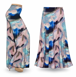 NEW! Customizable Natural Dry Brush/Cobalt Blue and Light Mauve Slinky Print Special Order Plus Size & Supersize Pants, Capri's, Palazzos or Skirts! Lg to 9x