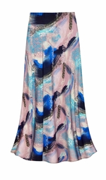 SALE! Customizable Natural Dry Brush/Cobalt Blue and Light Mauve Slinky Print Plus Size & Supersize Skirts - Sizes Lg to 9x