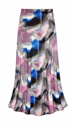 SALE! Customizable Natural Dry Brush/Cobalt Blue and Rose Slinky Print Plus Size & Supersize Skirts - Sizes Lg to 9x