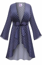 NEW! Customizable Navy With White Polka Dots Print Sheer Blouse Swimsuit Coverup Plus Size & Supersize LG XL 0x 1x 2x 3x 4x 5x 6x 7x 8x