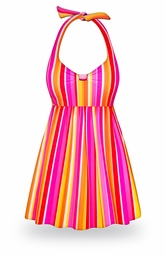 SOLD OUT! NEW! Customizable Neon Stripes Print Halter or Shoulder Strap 2pc Plus Size Swimsuit/SwimDress 0x to 9x