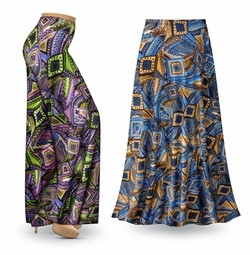 NEW! Customizable Nifty Squares Slinky Print Special Order Plus Size & Supersize Pants, Capri's, Palazzos or Skirts! Lg to 9x