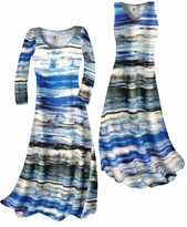 Customizable Ocean Blue Lines Print Slinky Plus Size & Supersize Standard or Cascading A-Line or Princess Cut Dresses & Shirts, Jackets, Pants, Palazzo's or Skirts Lg to 9x