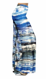 Customizable Ocean Blue Lines Slinky Print Plus Size & Supersize Palazzo Pants - Tapered Pants - Sizes Lg XL 1x 2x 3x 4x 5x 6x 7x 8x 9x