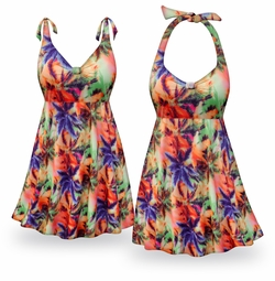 NEW! Customizable Palm Sunset Print Halter or Shoulder Strap 2pc Plus Size Swimsuit/SwimDress 0x to 9x