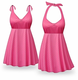 Customizable Pink Polka Dots Print Halter or Shoulder Strap 2pc Plus Size Swimsuit/SwimDress 0x to 9x