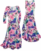 Customizable Pink, Purple, and Blue Bellflowers Slinky Print Plus Size & Supersize Standard or Cascading A-Line or Princess Cut Dresses & Shirts, Jackets, Pants, Palazzo's or Skirts Lg to 9x