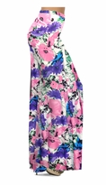 Customizable Pink, Purple, and Blue Bellflowers Slinky Print Special Order Plus Size & Supersize Pants, Capri's, Palazzos or Skirts! Lg to 9x