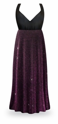 NEW! Customizable Purple Glimmer Plus Size Black Empire Waist Dress 0x 1x 2x 3x 4x 5x 6x 7x 8x