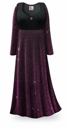NEW! Customizable Purple Glimmer Plus Size & SuperSize Empire Waist Dress With Rhinestone Detail Lg-8x