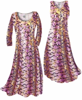 Customizable Purple With Gold Metallic Slinky Print Plus Size & Supersize Standard or Cascading A-Line or Princess Cut Dresses & Shirts, Jackets, Pants, Palazzo's or Skirts Lg to 9x