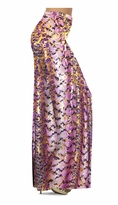 Customizable Purple With Gold Metallic Slinky Print Special Order Plus Size & Supersize Pants, Capri's, Palazzos or Skirts! Lg to 9x
