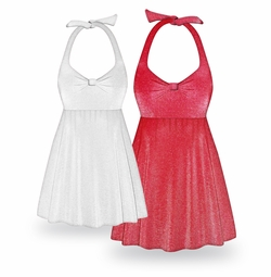 Customizable Red or White Glimmer Halter or Shoulder Strap 2pc Plus Size Swimsuit/SwimDress 0x to 9x